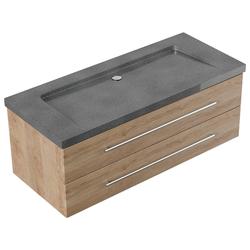 Emotion Waschtisch Badmöbel Granit G654 Damo 130 cm ohne Hahnloch eiche hell