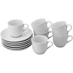 Retsch Arzberg Espressotasse Bianca, (Set, 12 tlg.), 6 Tassen, Untertassen weiß Becher Tassen Geschirr, Porzellan Tischaccessoires Haushaltswaren