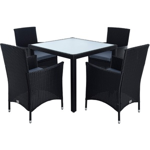 ESTEXO Polyrattan Gartenmöbel Set Sitzgruppe Rattan Gartenset Essgruppe Stuhl Tisch Set Garten Tisch und Stuhl Set 4 Personen Glas Glastisch (Schwarz)