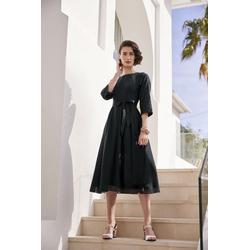 Prinzesskleid mit Gürtel schwarz Damen Knielange Kleider