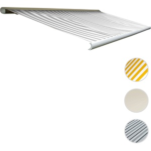 Elektrische Kassettenmarkise T122, Markise Vollkassette 4x3m ~ Acryl Grau/Weiß