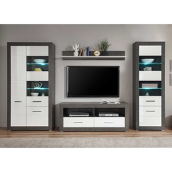 Fernseher Wohnwand in Weiß Hochglanz und Beton Grau 315 cm breit (4-teilig)