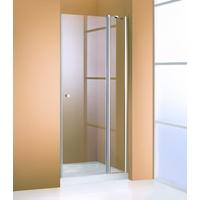 Hüppe 501 Design pure Schwingtür mit festen Segmenten silber matt Klarglas mit ANTI-PLAQUE / 1000mm / 1900mm - 510612087322