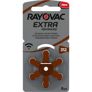 Rayovac Extra Advanced Zink Luft Hörgerätebatterie (in der Größe 312-10er Pack mit 60 Batterien, geeignet für Hörgeräte Hörhilfen) braun mit 2 Stück LUXTOR® Reinigungstüche