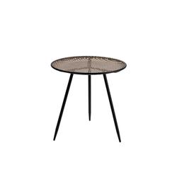 Cosy Home Ideas Beistelltisch Beistelltisch Metall Geflecht Rattan Optik beige schwarz Dreibein (1 Stück, 1x Beistelltisch rund), Metall in Geflecht Optik 36 cm