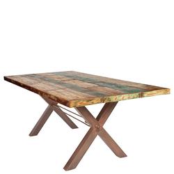 Altholz Esstisch in Bunt X-Füßen aus Eisen