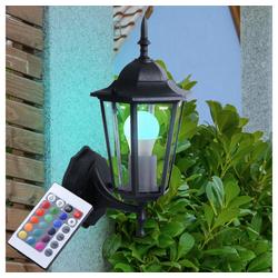 etc-shop LED Laterne, Außen Lampe Balkon Wand Beleuchtung Alu Laterne Fassaden Strahler im Set inkl. RGB LED Leuchtmittel