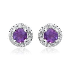 585er Ohrringe Amethysten 8 Diamanten