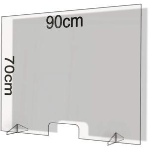 Spuckschutz aus Plexiglas mit 4mm, 90x70cm Virenschutz Hustenschutz Niesschutz, Thekenaufsatz Tischaufsatz Tresenaufsatz, (90x70)