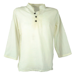 Guru-Shop Hemd & Shirt Yoga Hemd, Goa Hemd - creme natur XL