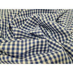 Baumwollstoff Vichy Karo Baumwolle blau weiß blickdicht, Meterware