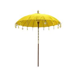 Oriental Galerie Sonnenschirm Balinesische Sonnenschirme Variante 180 cm Ø, Handarbeit gelb