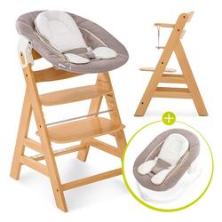 Hauck Hochstuhl Alpha Plus Natur - Newborn Set Holz Hochstuhl ab Geburt + Neugeboreneneinsatz & Wippe