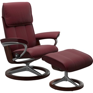 Stressless® Relaxsessel Admiral (Set, Relaxsessel mit Hocker), mit Hocker, mit Signature Base, Größe M & L, Gestell Braun rot 84 cm x 110 cm x 73 cm