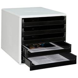 M&M Schubladenbox   schwarz DIN A4 mit 5 Schubladen
