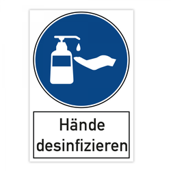 Warnschild - Hände desinfizieren (200x300 mm)