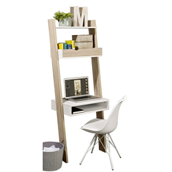 SoBuy Leiterregal FRG110/FRG111, Bücherregal mit Schreibtisch Standregal Wandregal mit Ablagen