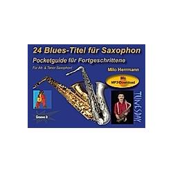 24 Blues-Titel für Saxophon  für Alt-Saxophon & Tenor-Saxophon. Milo Herrmann  - Buch
