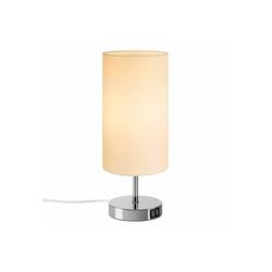 Tomons Nachttischlampe Nachttischlampe E27, Tischlampe aus Stoff, Mit Berührungsschalter, mit Glühbirne, mit 2 USB Ladeanschlüssen