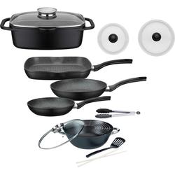 GSW Topf-Set Gourmet, Aluminiumguss, (Set, 8 tlg., (3-tlg. Pfannen-Set, 2 Glasdeckel, 1 Bräter, Wok, Küchenzange) schwarz Topfsets Töpfe Haushaltswaren