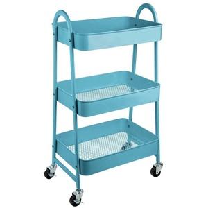 ONVAYA Servierwagen Servierwagen, Beistellwagen, 30,5 x 45 x 77 cm, 3 Fächer, Multifunktionswagen, Transportwagen, Allzweckwagen, Küchentrolley, Nischenregal blau
