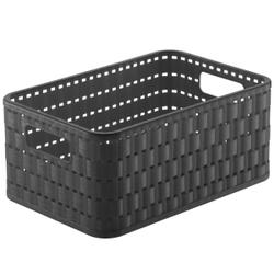 Rotho COUNTRY Aufbewahrungskorb, 4 Liter, Aufbewahrungsbox aus Kunststoff in moderner Rattan-Optik, Farbe: anthrazit
