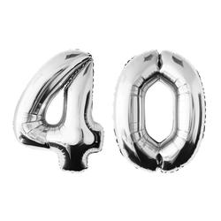 MyBeautyworld24 Folienballon Folienballon Zahlenballon in der Farbe silber Heliumballon Riesenzahl Geburtstag Deko Höhe 100 cm 40