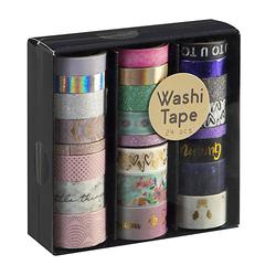 Washi Tape Set Maxi, 24 Stück Deko-Bastelsets bunt