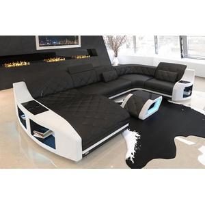 Sofa Wohnlandschaft Couch Swing U Leder Becherhalter LED Ottomane schwarz weiss