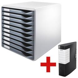 Schubladenbox »Formular-Set 5281« inkl. Ordner »180° Solid 1112« grau, Leitz, 29.1x29.2x35.2 cm