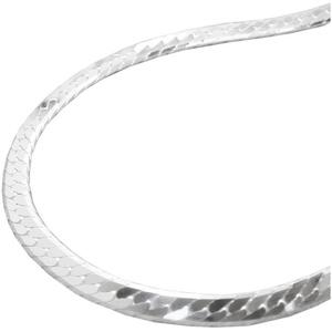 unbespielt Silberkette Halskette 925 Silber Damen Panzerkette flach für Frauen Länge 42 cm x 3 mm, Silberschmuck für Damen