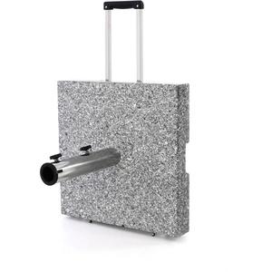 Nexos Sonnenschirmständer Granit Grau eckig mit Trolley-Griff, Rollen, Reduzierhülsen, Edelstahlrohr poliert 45 x 45 cm 40 kg. Für Schirme bis 3,5 m