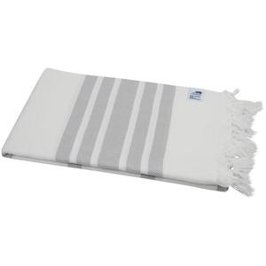 my Hamam Hamamtücher Hamamtuch XL weiß hellgrau mit Fransen (1-St), saugstark & pflegeleicht