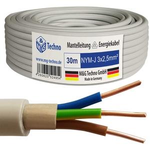 M&G Techno 30m NYM-J 3x2,5 mm2 Mantelleitung Feuchtraumkabel Elektrokabel Kupfer Made in Germany, grau