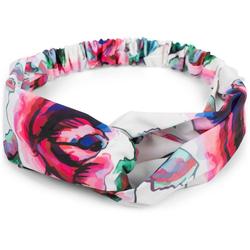 styleBREAKER Haarband Haarband mit Blumen Muster und Twist Knoten, 1-tlg., Haarband mit Blumen Muster und Twist Knoten weiß
