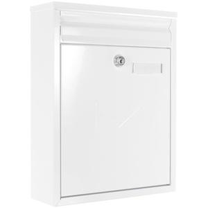 Rottner Briefkasten Como Weiß, Stahl-Briefkasten Mailbox, Postkasten, Zaunbriefkasten, 2 Einwurfschlitze, Namensschild