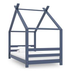 vidaXL Bettgestell vidaXL Kiefer Massiv Bettgestell Kinderbett Hausbett Bett mehrere Auswahl grau
