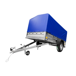 PKW-Anhänger kippbar 236x125 Garden Trailer 236 Unitrailer 750 KG mit Stützrad, Plane und Spriegel blau