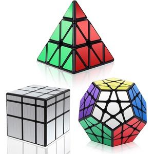 Vdealen Zauberwürfel Set, Speed Cube Set mit Pyramide Zauberwürfel & Megaminx Zauberwürfel & 3x3 Mirror Cube, 3 in 1 Unregelmäßige Magic Cube Set, Silber