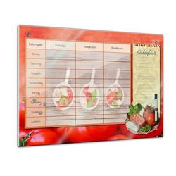 Bilderdepot24 Glasbild, Memoboard - Familien Essensplaner - Tomate und Mozarella - quer 80 cm x 60 cm