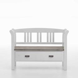 Landhaus Sitzbank in Weiß Grau einer Schublade