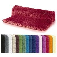 spirella spirella, Badteppich Badematte Duschvorleger Mikrofaser Hochflor, - flauschig | rutschhemmend | geeignet, für Fußbodenheizung | 60x90 cm | rot