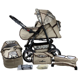 bergsteiger Kombi-Kinderwagen Rio, beige circles, 3in1, (10-tlg), mit Lufträdern; Made in Europe; Kinderwagen