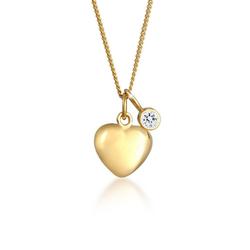 Elli Kette mit Anhänger Herz Anhänger Kristalle 925 Silber, Herz goldfarben