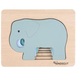 Kindsgut Puzzle, 5 Puzzleteile, Tier-Puzzle, Holz-Puzzle, Baby, Lern-Spiel, Elefant, Kinder-Puzzle, Motorik-Puzzle, Lern-Puzzle, für zuhause und unterwegs grau