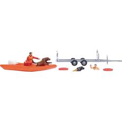 Busch 7897 H0 Schlauchboot mit Anhänger und Figuren