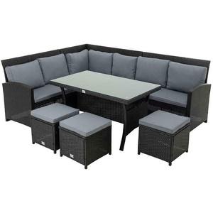 Polyrattan Essgruppe schwarz Sitzgruppe Garten Lounge Gartenmöbel Set Rattan