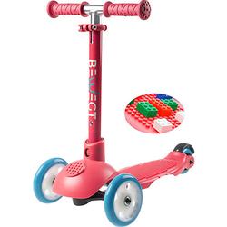 3-Rollen Kleinkinder Scooter Zum Spielen mit Bausteinen Roller pink