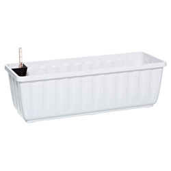 Dehner Blumenkasten Aqua-Flor Plus mit Bewässerungssystem, Kunststoff weiß 58,5 cm x 19 cm x 22 cm