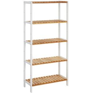 SONGMICS Badezimmerregal mit 5 Ebenen, aus Bambus, Küchenregal, 9-stufig höhenverstellbar, multifunktionales Standregal, im Wohnzimmer, Flur, 60 x 26 x 130 cm, weiß-naturfarben BCB35WN